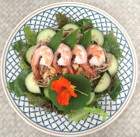 Asian Salad with Cashew Nut Butter and Mint Leaves